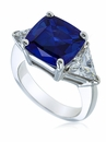 4 Carat Cushion Cut Sapphire with Trillions Cubic Zirconia Three Stone Ring