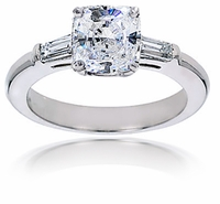 4 Carat Cushion Cut Square Cubic Zirconia Baguette Solitaire Engagement Ring