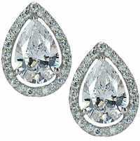 4 Carat Each LaRue Pear Cubic Zirconia Halo Stud Earrings