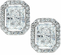 4 Carat Each LaRue Radiant Emerald Cut Cubic Zirconia Halo Stud Earrings