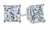 4 Carat Each Princess Cut Square Cubic Zirconia Stud Earrings