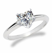 4 Carat Heart Cubic Zirconia Classic Solitaire Engagement Ring