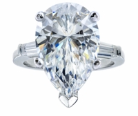 4 Carat Pear Cubic Zirconia Baguette Solitaire Engagement Ring