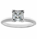 4 Carat Princess Cut Square Cubic Zirconia Tiffany Style Solitaire Engagement Ring In Platinum