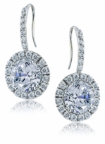 Dosier 4 Carat Round Cubic Zirconia Halo Shepherd Hook Drop Earrings