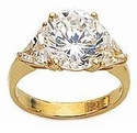 4 Carat Round With Trillions Cubic Zirconia Three Stone Ring