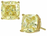 4 Carat Each Cushion Cut Cubic Zirconia Simulated Canary Diamond Stud Earrings Set in 14K Yellow Gold