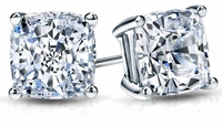 4 ct. Each Cushion Cut Cubic Zirconia Stud Earrings