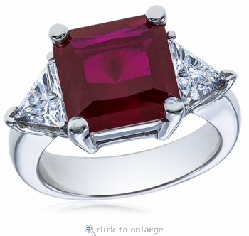 5.5 Carat Princess Cut Ruby with Trillions Cubic Zirconia Three Stone Ring