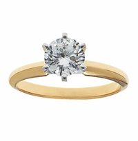 5.5 Carat Round Cubic Zirconia Six Prong Classic Solitaire Engagement Ring