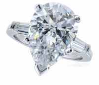 5 Carat Pear Cubic Zirconia Baguette Solitaire Engagement Ring