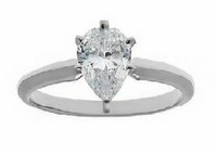 .50 Carat Pear Cubic Zirconia Classic Solitaire Engagement Ring