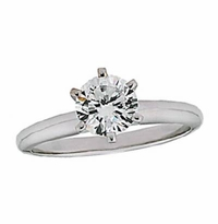 .50 Carat Round Cubic Zirconia Six Prong Classic Solitaire Engagement Ring