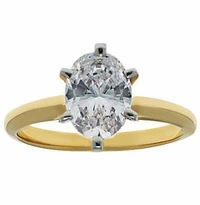 6.5 Carat Oval Cubic Zirconia Classic Solitaire Engagement Ring