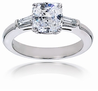 7 Carat Cushion Cut Square Cubic Zirconia Baguette Solitaire Engagement Ring