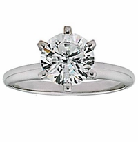 7 Carat Round Cubic Zirconia Six Prong Classic Solitaire Engagement Ring