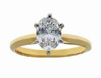 .75 Carat Oval Cubic Zirconia Classic Solitaire Engagement Ring