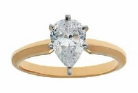 .75 Carat Pear Cubic Zirconia Classic Solitaire Engagement Ring