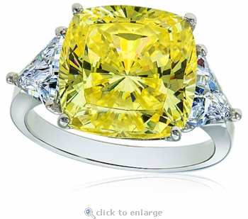 8.5 Carat Cushion Cut Canary with Trillions Cubic Zirconia Three Stone Ring