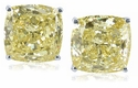 8.5 Carat Each Cushion Cut Square Canary Cubic Zirconia Stud Earrings in 14K White Gold