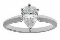 9 Carat Pear Cubic Zirconia Classic Solitaire Engagement Ring