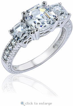 Aaricia Three Stone Asscher Cut Cubic Zirconia Engraved Estate Style Anniversary Ring