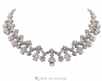 Abingdale Round Pear Marquise Emerald Cut Cubic Zirconia Cluster Statement Necklace