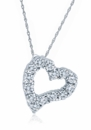 Abstract Heart Shared Prong Set Round Cubic Zirconia Pendant