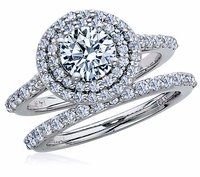 Alessia 1 Carat Round Double Halo Cubic Zirconia Cathedral Pave Wedding Set