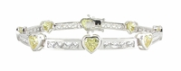 Amore Bezel Set Heart Cubic Zirconia Channel Set Round Bracelet