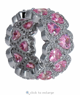 Amorique Pink Heart Cubic Zirconia Pave Set Round Eternity Band