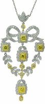 Andasia Estate Style Cubic Zirconia Simulated Canary Diamond Necklace