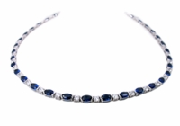 Anderson Oval Horizontal Semi Bezel Set Round Statement Tennis Necklace