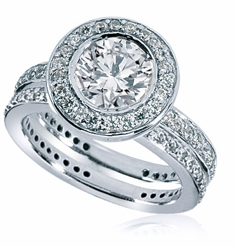 Andromeda Bezel Set 2 Carat Round Cubic Zirconia Halo Pave Wedding Set
