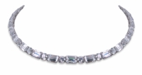Angeline Horizontal Cubic Zirconia Emerald Step Cut Alternating Round Statement Tennis Necklace