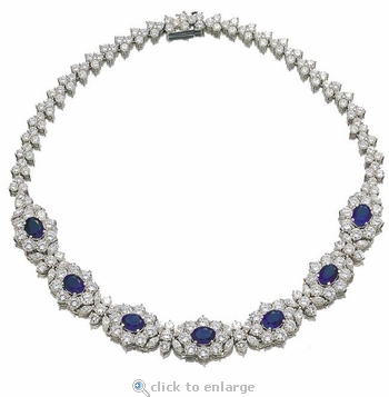 Arpell Marquise Round and Oval Cubic Zirconia Statement Necklace