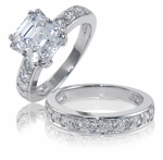 Asscher 2.5 Carat Royal Crown Cubic Zirconia Double Prong Pave Bridal Set
