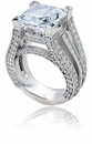 Aston 7 Carat Princess Cut Cubic Zirconia Micro Pave Set 14k White Gold Solitaire Engagement Ring