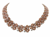 Autumn Vintage Oval Round Cluster Statement Necklace