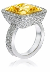 Avellina 12 Carat Canary Emerald Radiant Cut Halo Pave Set Round Cubic Zirconia Cocktail Engagement Ring