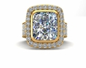 Avellina 7 Carat Cubic Zirconia Emerald Radiant Cut Bezel Set Pave Halo Ring 18K Yellow Gold