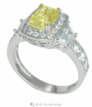 Aventura 1.5 Carat Emerald Cushion Cut Canary Cubic Zirconia Halo Ring
