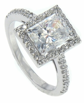 Bagwell 1.5 Carat Radiant Emerald Cut Cubic Zirconia Micro Pave Halo Engagement Ring