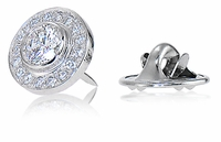 Baldwin Men's .75 Carat Round Bezel Set Halo Lapel Pin