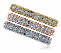 Bastille Beaded Milgrain Beaded Micro Pave Cubic Zirconia Stackable Eternity Wedding Band