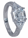 Bedford 1.5 Carat Asscher Cut Cubic Zirconia Engraved Estate Style Trillion Three Stone Ring