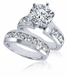 Bergamo 2.5 Carat Round Prong Set Cubic Zirconia Channel Set Round Wedding Set