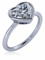 Bezellia 2 Carat Heart Cubic Zirconia Bezel Set Solitaire Engagement Ring