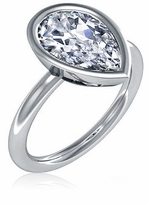 Bezellia 3 Carat Pear Cubic Zirconia Bezel Set Solitaire Engagement Ring