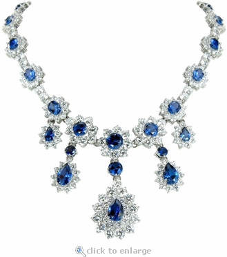 Biltmore Round Pear Oval Cubic Zirconia Estate Style Statement Necklace